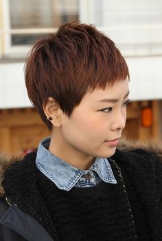 Short Boyish Asian Hairstyle for Women - Brown Pixie Cut with Bangs