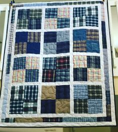 Memorial quilt made entirely of his dress shirts and jeans. with sashing & patchwork border. quilts 2019 Memorial quilt made entirely of his dress shirts and jeans Man Quilt, Boy Quilts, Scrappy Quilts, Quilt For Men, Flannel Quilts, Plaid Quilt, Shirt Quilts, Denim Quilts, Blue Jean Quilts