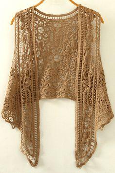 Cut Out Irregular Collarless Sleeveless Crochet Blouse