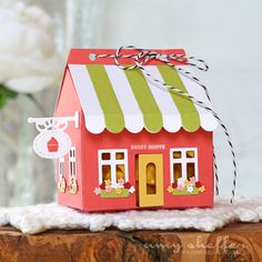 Sweet Shoppe Gift Box by Amy Sheffer for Papertrey Ink (July - regalos - Box Houses, Paper Houses, 3d Paper Crafts, Paper Art, Scrapbook Box, Line Art Images, Rena, 3d Christmas, Handmade Christmas