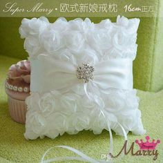 Wedding Ring Pillow White Satin Rose Flowers Ring Cushion Customize Rings Care Pillows with Rhinestones Ring Bearer Pillows, Ring Pillows, Wedding Pillows, Ring Pillow Wedding, Wedding Crafts, Wedding Decorations, Wedding Favors, Party Favors, Wedding Rings