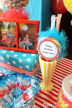 Dr. Seuss Birthday Party Candy Buffet    Cheap $1 frames spray painted red!