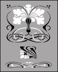 Budget Art Nouveau stencils, stensils and stencles