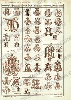 page scan from antique monogram book, showing monograms AH through AL
