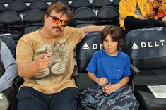 Jack Black and son Tomas Black attend a basketball game between the Los Angeles Lakers and the Atlanta Hawks at Staples Center in Los Angeles on Jan. 7.