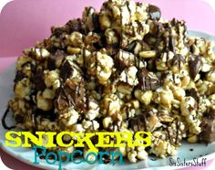 Super Bowl Snickers Popcorn  4 quarts popped corn (about 1 cup kernels)  1 cup salted butter  2 cups light brown sugar, packed  1 tsp salt  1/2 cup light corn syrup  1 tsp baking soda  1 cup salted peanuts  30 fun size Snickers bars chopped up  3 oz melted choc chips
