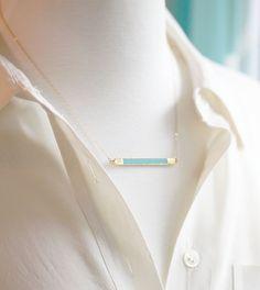 Gold and Enamel Horizontal Bar Necklace Minimalist by amandadeer