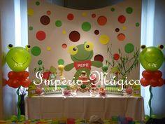 Mesa de golosinas del Sapo Pepe Baby Shawer, Ideas Para Fiestas, 4th Birthday, Party Time, Balloons, Frozen, Pastel, Candy, Holiday Decor