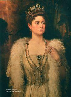 Tsarina Alexandra in the Columbian emerald and diamond tiara