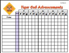 Tiger Advancement Chart | Scout Helps