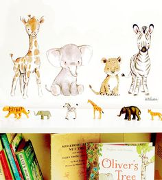 Come join these little friends on a safari of adventure! Created from an original, watercolor and gouache painting by Kit Chase. This self-adhesive, fabric-based wall decal is removable and repositionable; just peel off the backing, stick it on the wall, and youre set! details: set