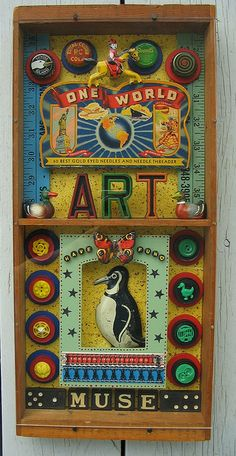 One World -- Very cool mixed media art from Artsy Muse on Flickr.  Artsy Muse has done TONS of WAY COOL mixed media pieces using old game pieces and other vintage odds and ends.                                                                                                                                                                                 More