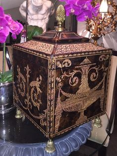 STUNNING Maitland Smith Coromandel Storage Box With Brass Accents | Home & Garden, Home Décor, Boxes, Jars & Tins | eBay!