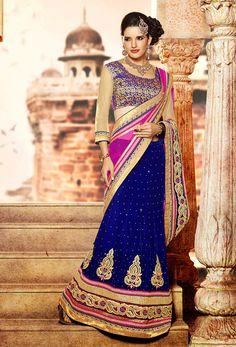 Blue And Pink Color Lehenga Sarees
