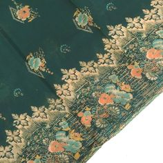 Indian Vintage Sari Home Decor Floral Priinted Sewing Green Printed Curtain Drape Georgette Recycled Craft Fabric Women Wrap Dress Saree Orange Quilt, Recycled Crafts, Drapes Curtains, Fabric Crafts, Wrap Dress, Recycling, Sari, Indian, Quilts