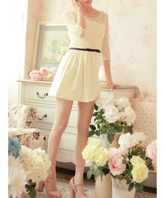 Beige Lace and Blends Women Fashion Round NeckSleeve New Korean Style Short Length Elegant Dress