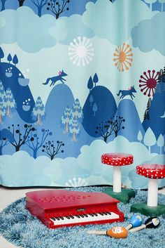 "Meri Mort, Helsinki, Finland based illustrator for Vallila Interiors ""Mimmit"" fabric collection 2015."