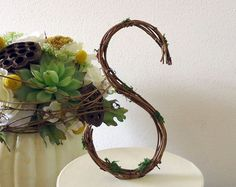 "Wedding Cake Topper 6"" Rustic Personalized Grapevine Letter - Basic Print Style - Any Letter"