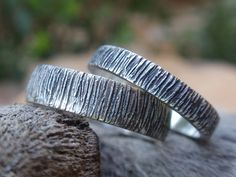handmade sterling silver wedding band set oxidized bark texture http://www.etsy.com/shop/preciousjd