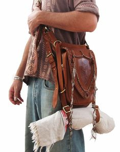 TAN Leather holster, leather utility belt, festival belt, steam punk belt, tribal jungle, navaho, messenger bag