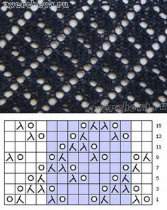 Punto calado con esquema, lace knit chart.