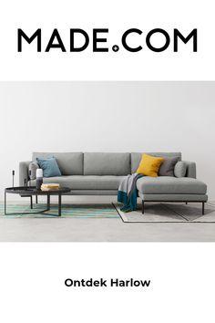 Comfortable Living Rooms, Comfortable Sofa, Sofa Design, Green Corner Sofas, Black Sofa, Room Additions, Design Moderne, Headboard And Footboard, Seat Cushions