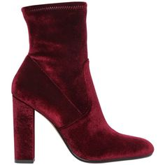 Steve Madden Women 100mm Stretch Velvet Ankle Boots (8.680 RUB) ❤ liked on Polyvore featuring shoes, boots, ankle booties, bordeaux, side zip boots, bootie boots, stretch boots, short high heel boots and short boots