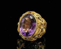 #AntiqueAmethystRing Yellow Gold   http://www.BloomingBeautyRing.com