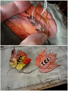 leaves and feathers by jude Hill/spirit cloth Embroidery Art, Embroidery Applique, Cross Stitch Embroidery, Embroidery Patterns, Art Du Fil, Textiles, Textile Fiber Art, Thread Art, Applique Quilts