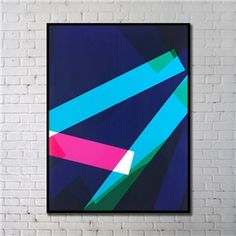Contemporary Wall Art Geometric Abstract Print with Black Frame 36