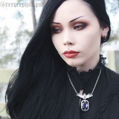Want it! This beautiful Bat with purple chunky faux gemstone necklace that ReeRee Phillips (from Restyle/Tumblr) wearing is in stock!