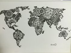 World Map mandala adult colouring page. Original drawing by me. Subject to copyright.