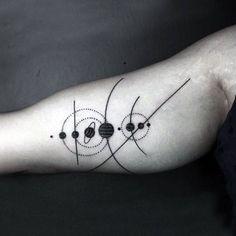 unique Geometric Tattoo - Mens Black Solar System Tattoo On Forearms...