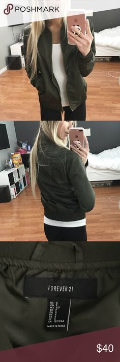 ✨SALE! Olive Green Bomber Jacket ✨Price temporarily reduced until January 5 at 9pm. Price FIRM unless bundled since in sale✨ Olive green bomber jacket! Worn once for literally 2 hours. Size small. True to size. In prefect condition! Just a little too big on me for my liking.  No trades. 15% off bundles. Forever 21 Jackets & Coats