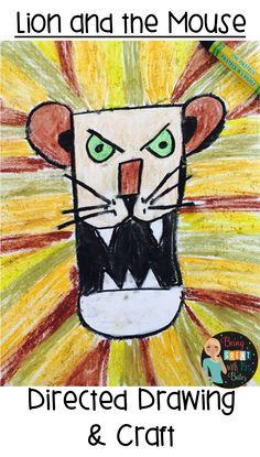 Bates: Lion and the Mouse Preschool Literacy, Preschool Crafts, Kindergarten, Popular Fairy Tales, Lion And The Mouse, Mouse Crafts, Directed Drawing, Lion Art, Children's Literature