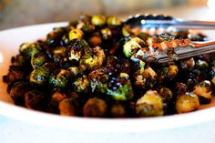 Brussels Sprouts with Balsamic and Cranberries. Absolutely addictive, and so pretty with the other Thanksgiving dishes.