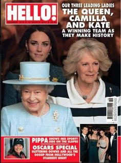 The Queen, Camilla and Kate on the front cover of Hello magazine.    Photo by Niraj Tanna - pic.twitter.com/PZPjyIb3