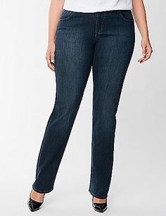 A classic denim look made just for you, our straight fit, straight leg jean is endlessly versatile with a clean, dark wash and dyed-to-match stitching. Cut straight from the waist through hips, our straight fit is a flattering choice for the not-so-curvy shape. Button  zip fly closure and belt loops. Detailed with simple embroidery, five pockets and rivets for an everyday look that never goes out of style. Available in Petite and Tall sizes, too. lanebryant.com