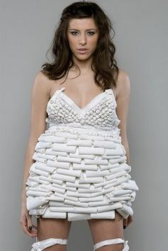 "now if that isn't ""stank-trash"" disguised as fashion, I don't know what is (quote by JoAnn! Award Show Dresses, Advertising Awards, Paper Clothes, Toilet Paper, Paper Art, Sexy, Weird, Creativity, Quote"
