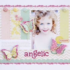 how to use butterflies on your scrapbook page; butterflies page inspiration; using butterflies on layouts; document memories using butterflies Kids Scrapbook, Scrapbook Page Layouts, Scrapbook Paper Crafts, Scrapbook Cards, Scrapbook Patterns, Scrapbook Photos, Grid Layouts, Scrapbook Designs, Scrapbook Embellishments