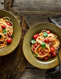 Stir rose harissa through spaghetti and juicy cherry tomatoes for a high-fibre, low-calorie vegetarian dinner