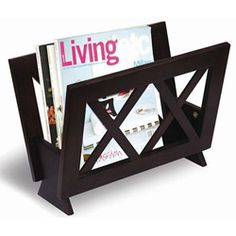 Display your magazines in style with this X-design wooden rack  Furniture is great for storage or to display magazines, newspapers, books and more  Rack has a rich cappuccino finish.