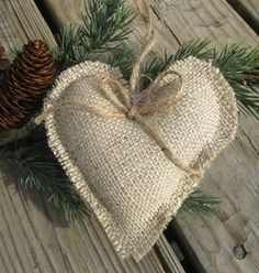 Rustic Heart Decor | Rustic burlap heart ornaments set of 6 by SplendidEvents on Etsy, $12 ...
