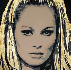 """Ursula Andress"" mixed media on canvas 120x120 cm"