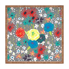 Vy La Bloomimg Love Gray Square Tray   DENY Designs Home Accessories