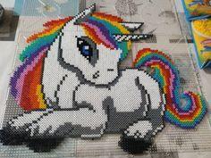 Rainbow unicorn by haeurusai on DeviantArt Perler Bead Designs, Perler Bead Templates, Hama Beads Design, Diy Perler Beads, Perler Bead Art, Pearler Beads, Fuse Beads, Melty Bead Patterns, Pearler Bead Patterns