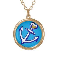 Blue Anchor Necklace; Abigail Davidson Art; ArtisanAbigail at Zazzle