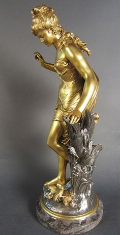Auguste Moreau, French - Dore and silver over bronze figural sculpture on marble base. Modern Sculpture, Abstract Sculpture, Bronze Sculpture, Wood Sculpture, Metal Sculptures, Statues, Fields Of Gold, Clock Decor, Antique Auctions