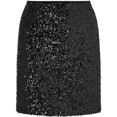Miss Selfridge Black Sequin Embellished Mini Skirt ($49) ❤ liked on Polyvore featuring skirts, mini skirts, black, short skirts, sequin mini skirt, going out skirts, party skirts and miss selfridge