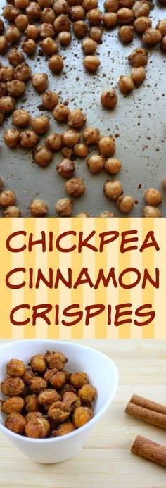 Chickpea Cinnamon Crispies for a healthy, vegan snack or salad topper. This recipe is gluten-free and uses just a bit of coconut oil.